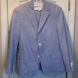 Blue and White Seersucker Suit